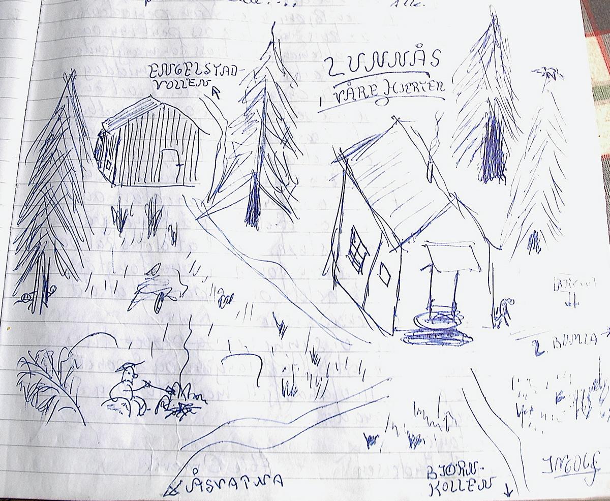 Tegningen fra Hytteboka viser at mange veier fører til og fra Lunaas-hytta.