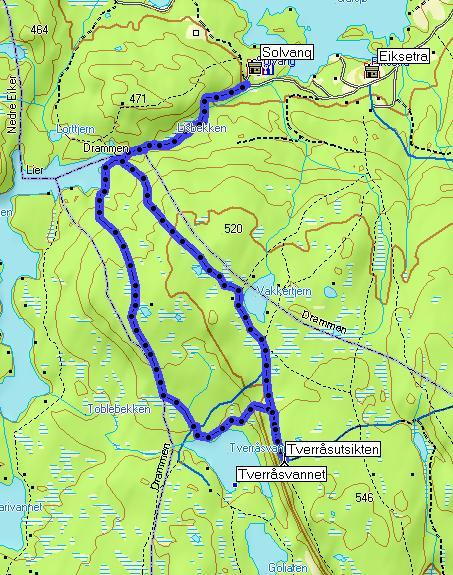 Kart for en rundtur Solvang - Tverråsutsikten