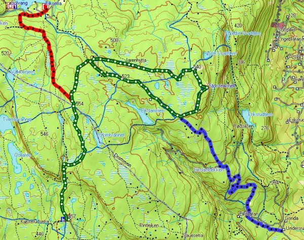 Kart over Storsteinsfjellrunden med tilførselsløyper