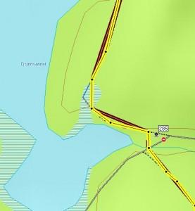 Eksempel GPS-plott løypekrysset ved Grunnvannet