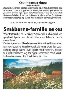 Annonse fra Jobbaktuelt.se til Braathens økogard-prosjekt i Sørkedalen